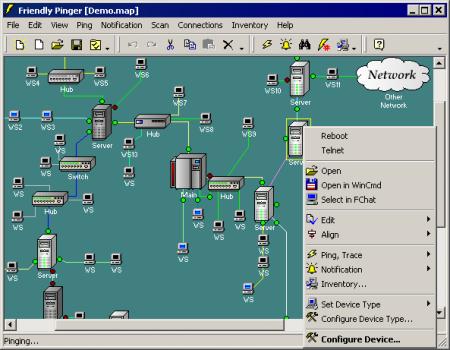 Friendly Pinger визуальная карта сети