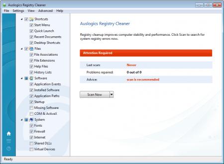 Auslogics Registry Cleaner сканирование