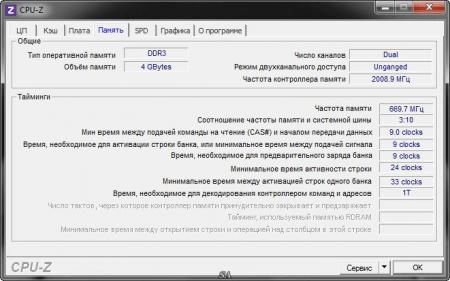 CPU-Z информация о памяти