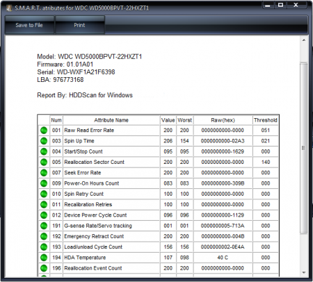 HDDScan информация S.M.A.R.T.