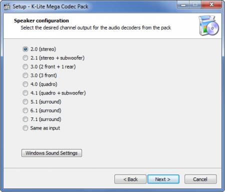 K-Lite Codec Pack настройка колонок.