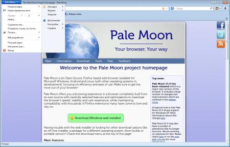 Pale Moon меню